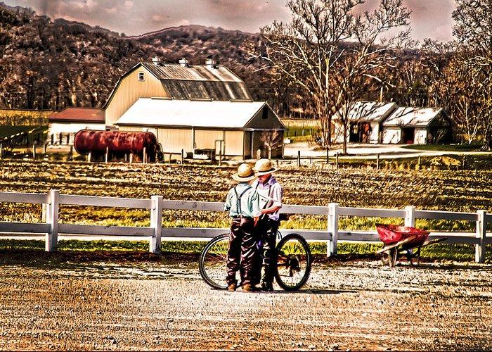 Farm Boys Talking Greeting Card featuring the photograph Farm Boys Country Exchange by Randall Branham