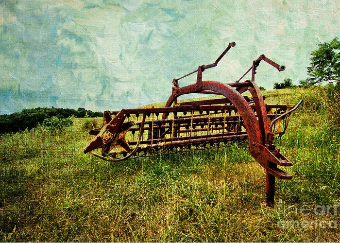 Farm Greeting Card featuring the digital art Farm Equipment In A Field by Amy Cicconi