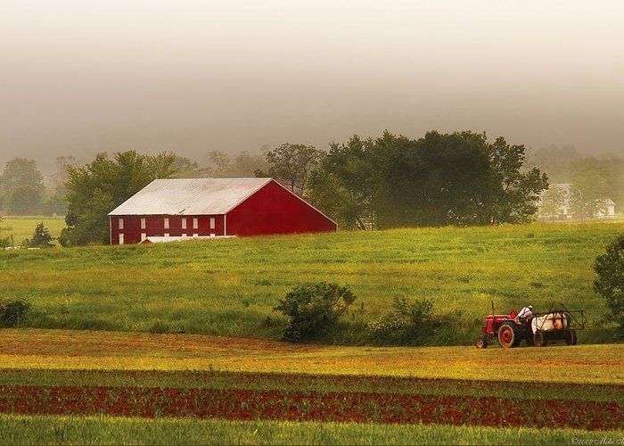 Savad Greeting Card featuring the photograph Farm - Farmer - Tilling The Fields by Mike Savad
