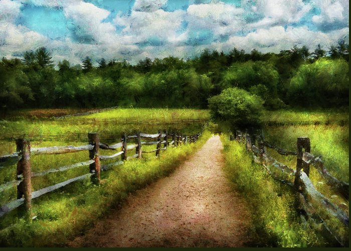 Suburbanscenes Greeting Card featuring the photograph Farm - Fence - Every Journey Starts With A Path by Mike Savad