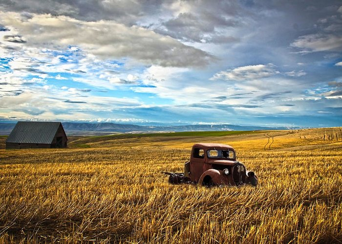 Hot Rod Greeting Card featuring the photograph Farm Field Pickup by Steve McKinzie