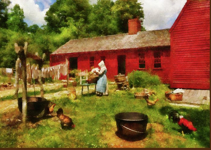 Suburbanscenes Greeting Card featuring the photograph Farm - Laundry - Old School Laundry by Mike Savad