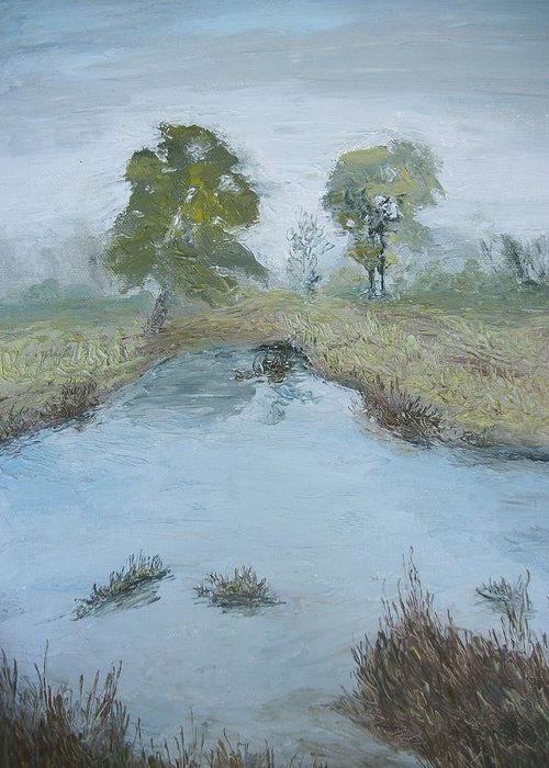 Pond Greeting Card featuring the painting Farm Pond by Dwayne Gresham