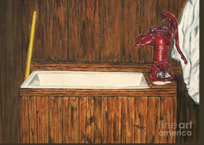Farm Sink Greeting Card featuring the painting Farm Sink by Regan J Smith