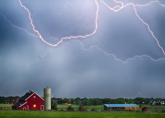Lightning Greeting Card featuring the photograph Farm Storm Hdr by James BO Insogna