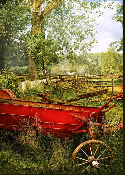 Savad Greeting Card featuring the photograph Farm - Tool - A Rusty Old Wagon by Mike Savad