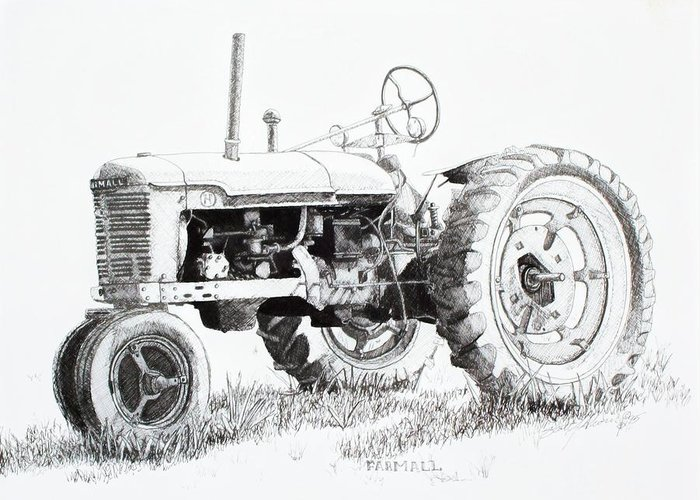 Tractor Greeting Card featuring the drawing Farmall by Scott Alcorn