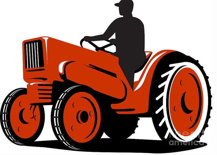 Tractor Greeting Card featuring the digital art Farmer Driving Vintage Tractor Retro by Aloysius Patrimonio