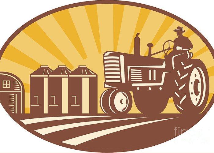 Farmer Greeting Card featuring the digital art Farmer Driving Vintage Tractor Retro Woodcut by Aloysius Patrimonio