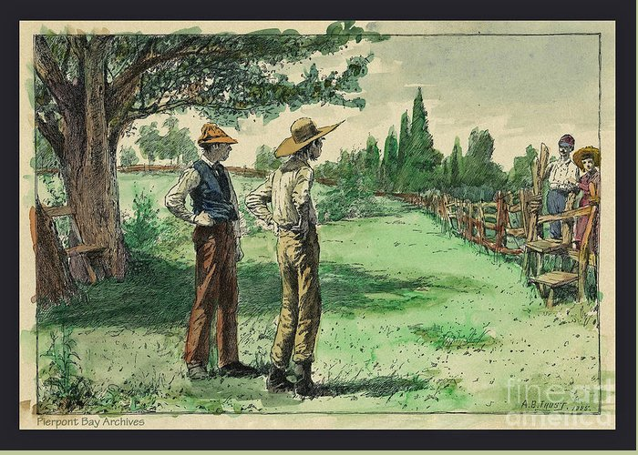 Hand Tinted Green Trees Farmers People Hats Ranch British American Folks City Ballads Old Fashioned Book Plate Painted Watercolor Drawing Greeting Card featuring the digital art Farmers In Pasture With Trees 1885 Hand Tinted Etching by Pierpont Bay Archives