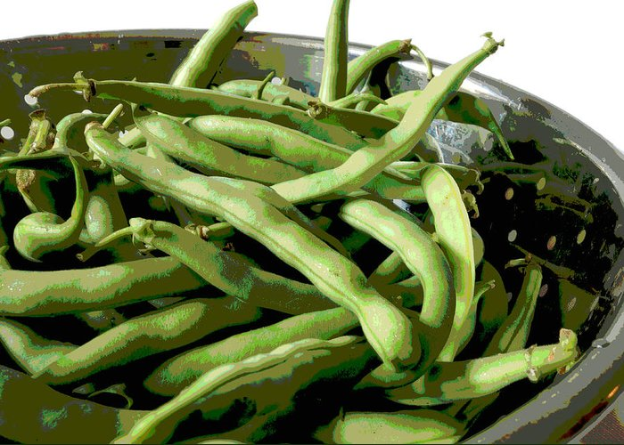 Food Greeting Card featuring the photograph Farmers Market Green Beans by Ann Powell