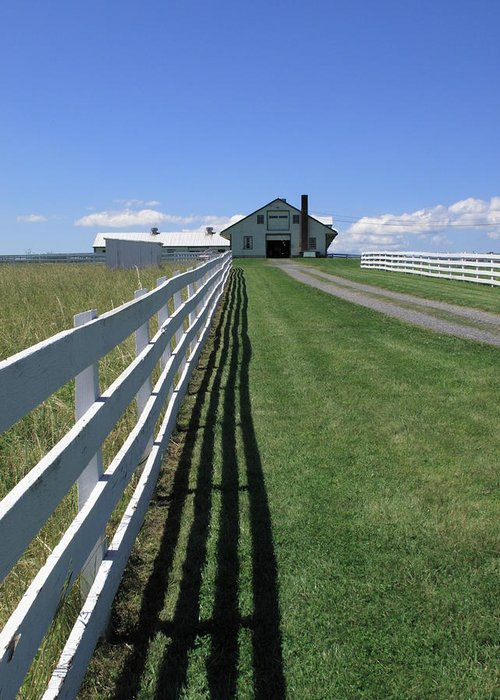 Agriculture Greeting Card featuring the photograph Farmhouse And Fence by Frank Romeo