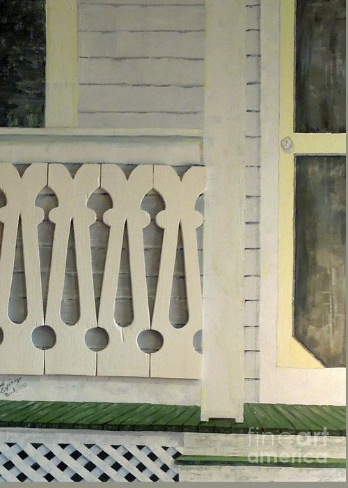 Farmhouse Greeting Card featuring the painting Farmhouse Porch Right Side by Judith Espinoza
