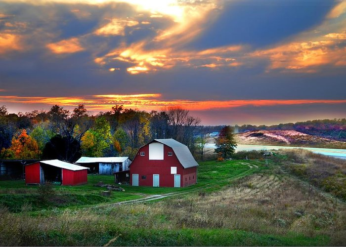 Farms Greeting Card featuring the photograph Farmstead At Sunset by Julie Dant