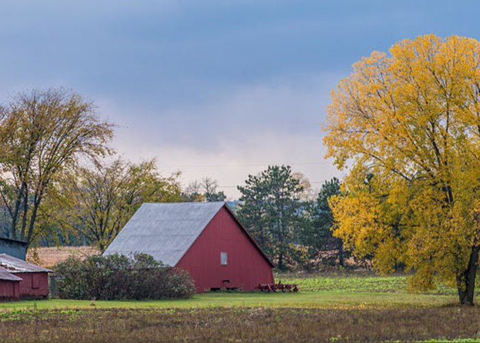Landscape Greeting Card featuring the photograph Farmstead With Fall Colors by Paul Freidlund