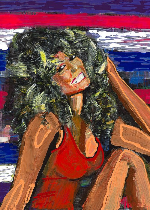 Mike Harder Greeting Card featuring the painting Farrah by Mike Harder