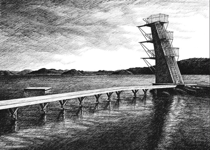 Diving Board Greeting Card featuring the drawing Farsund Badehuset In Ink by Janet King