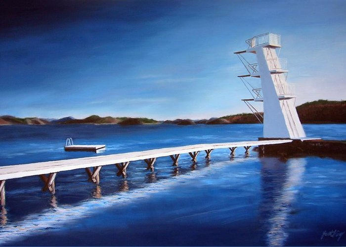 Diving Board Greeting Card featuring the painting Farsund Badehuset On A Sunny Day by Janet King