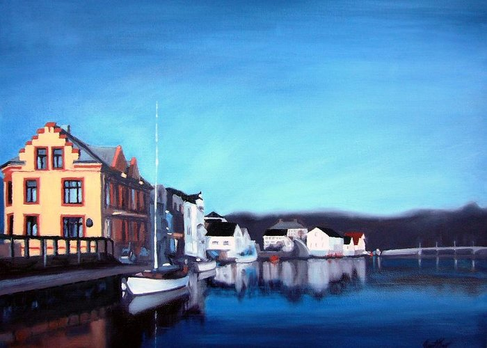 Dock Greeting Card featuring the painting Farsund Dock Scene I by Janet King
