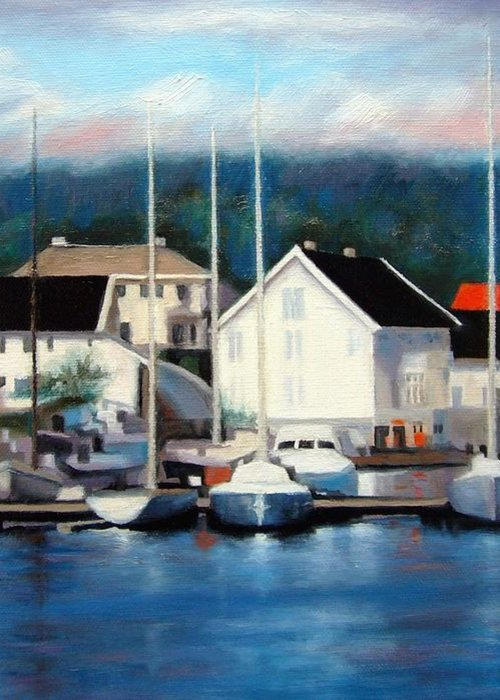 Seascape Greeting Card featuring the painting Farsund Dock Scene Painting by Janet King