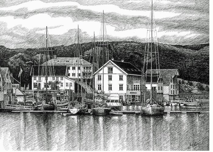 Dock Greeting Card featuring the drawing Farsund Dock Scene Pen And Ink by Janet King