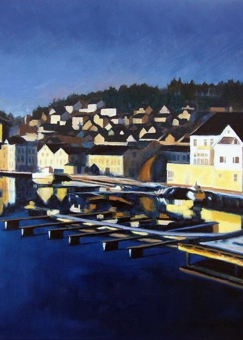 Seascape Greeting Card featuring the painting Farsund In Winter by Janet King