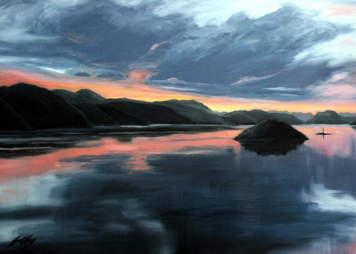 Sunrise Greeting Card featuring the painting Farsund Sunrise by Janet King