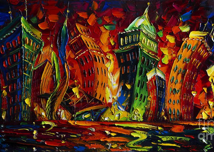 City Greeting Card featuring the painting Cityscape by Willson Lau