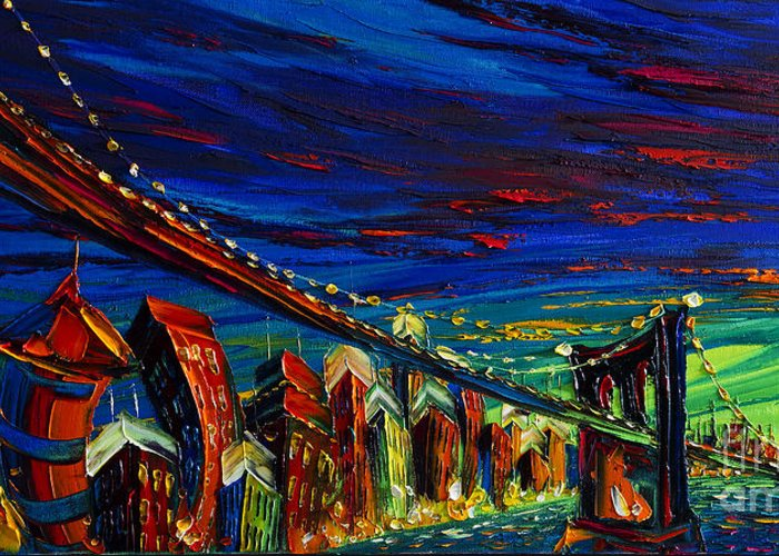 City Greeting Card featuring the painting New York by Willson Lau