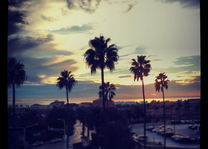 Sunset Greeting Card featuring the digital art Fashion Island Palms by Eric Wuebben