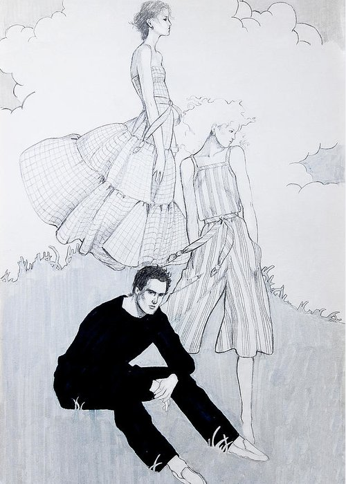 Fashion Illustration Greeting Card featuring the drawing Fashion On A Hill by Sarah Parks