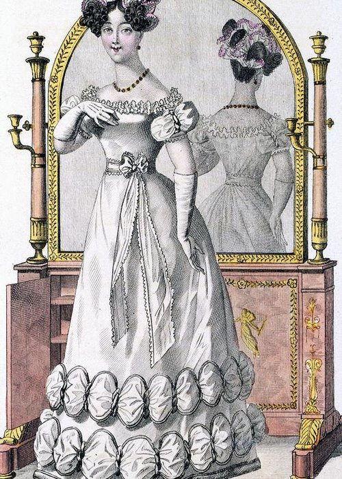 Female Greeting Card featuring the drawing Fashion Plate Of A Lady In Evening by English School
