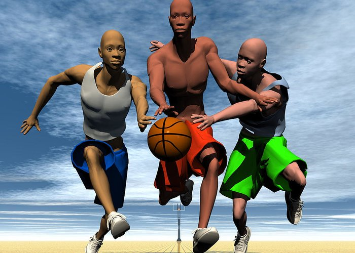 Figures Greeting Card featuring the digital art Fast Break On An Even Playing Field by Walter Oliver Neal