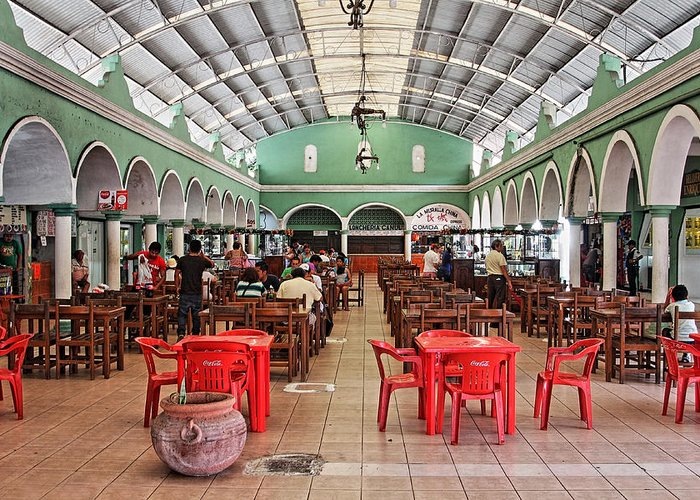 Fast Food Greeting Card featuring the photograph Fast Food Hall In Valladolid by Paul Williams