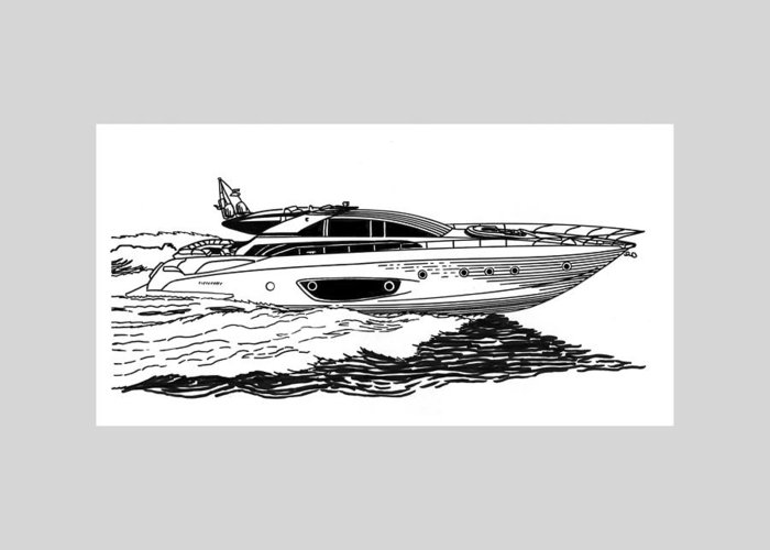Ink Drawings By Jack Pumphrey Of Yacht Greeting Card featuring the drawing Fast Riva Motoryacht by Jack Pumphrey