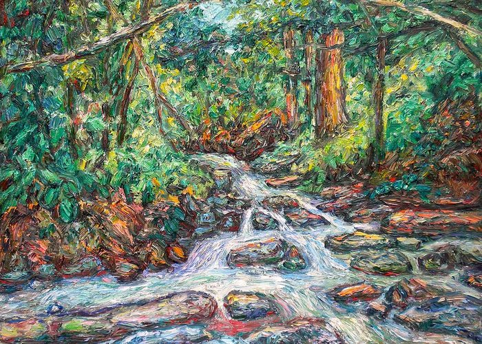 Kendall Kessler Greeting Card featuring the painting Fast Water Wildwood Park by Kendall Kessler