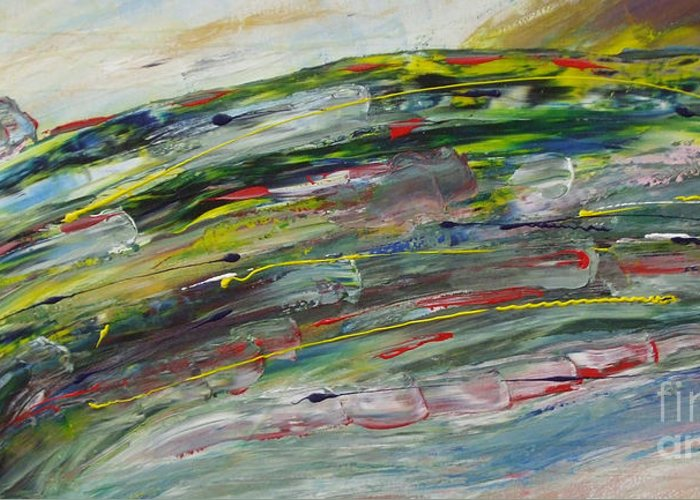 Abstract Greeting Card featuring the painting Faster by M J Venrick
