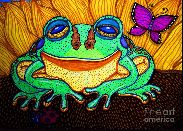 Frog Greeting Card featuring the drawing Fat Green Frog On A Sunflower by Nick Gustafson