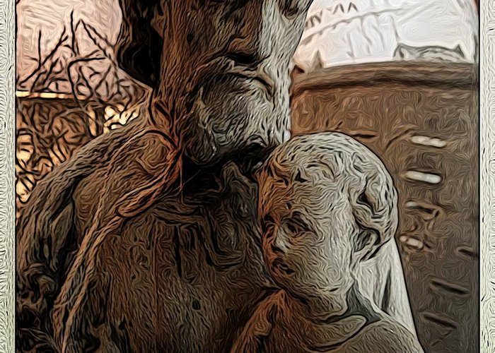Angel Greeting Card featuring the digital art Father And Son by Jen Brooks Art