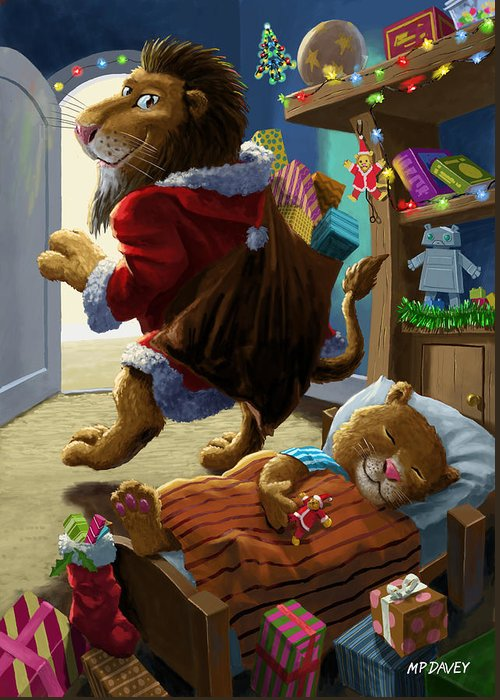 Christmas Greeting Card featuring the digital art Father Christmas Lion Delivering Presents by Martin Davey