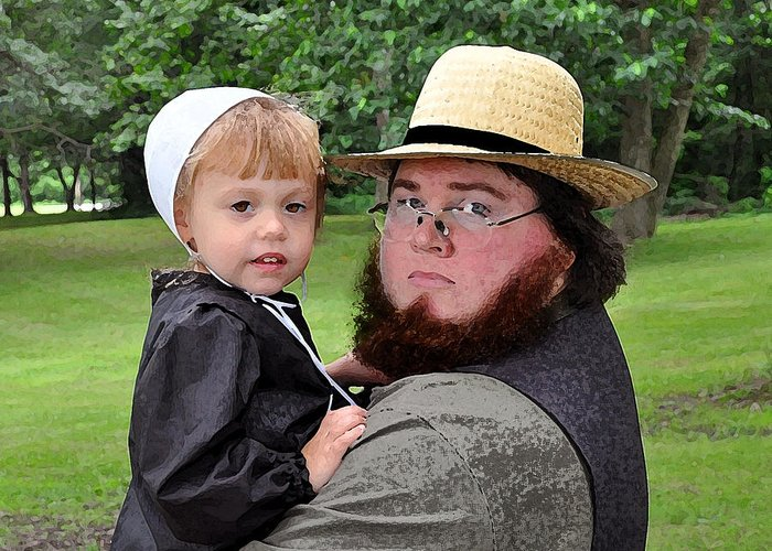 Amish Greeting Card featuring the photograph Father Daughter Time by Brian Graybill