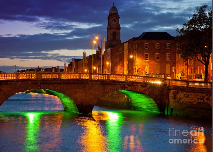 Dublin Greeting Card featuring the photograph Father Matthew Bridge by Inge Johnsson