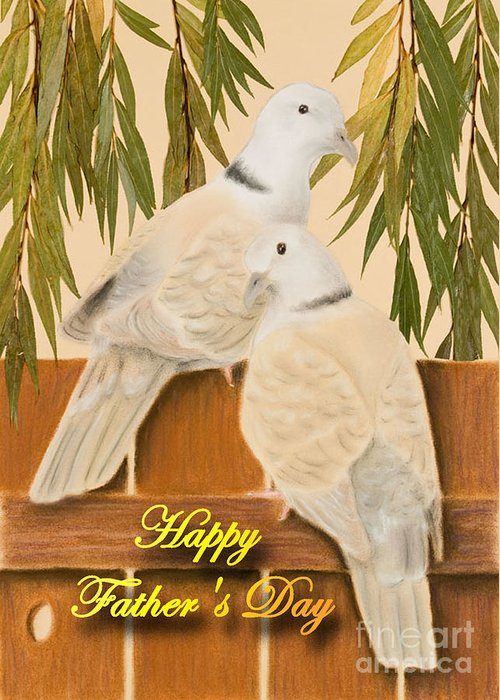 Pigeon Greeting Card featuring the mixed media Father's Day Doves by Jeanette K
