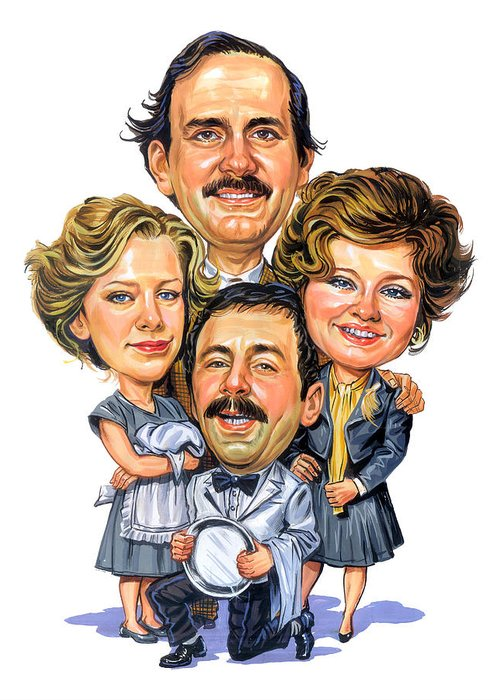 Fawlty Towers Greeting Card featuring the painting Fawlty Towers by Art