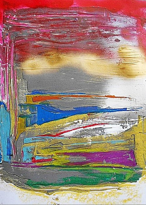 Non-figurative Greeting Card featuring the painting Fd266 by Ulrich De Balbian