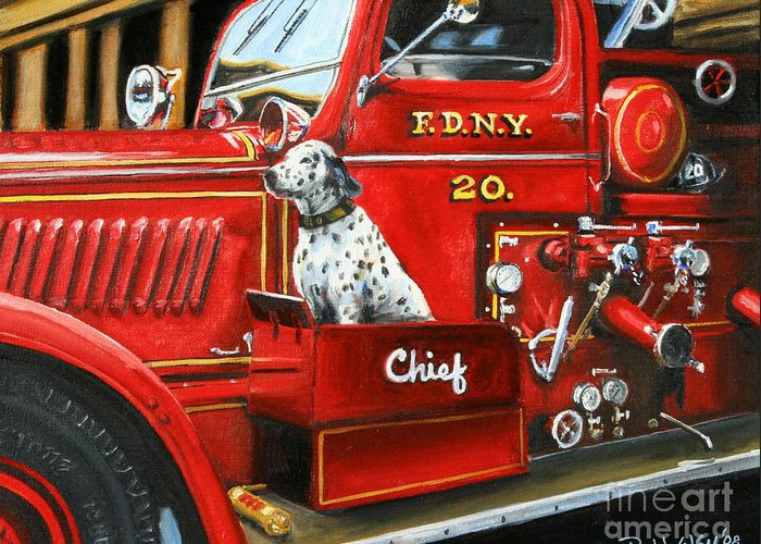 Dalmatian Greeting Card featuring the painting Fdny Chief by Paul Walsh