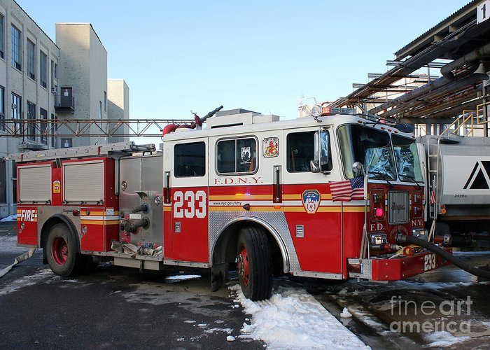 Fdny Greeting Card Featuring The P Ograph Fdny Engine  Alarm Fire By Steven Spak