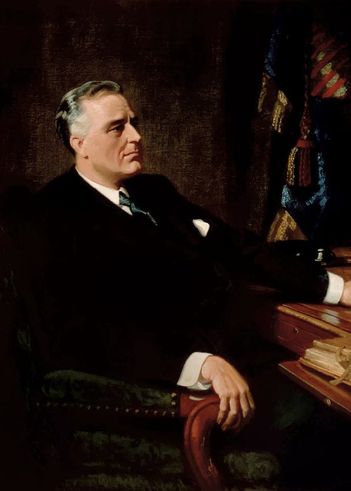 Franklin Roosevelt Greeting Card featuring the painting Fdr Official Portrait by War Is Hell Store