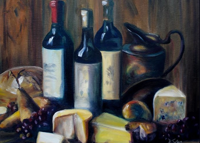 Wine Greeting Card featuring the painting Feast Still Life by Donna Tuten