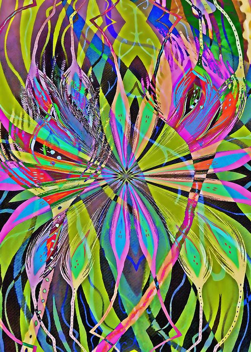 Abstract Feathers Greeting Card featuring the digital art Feathers by Devalyn Marshall